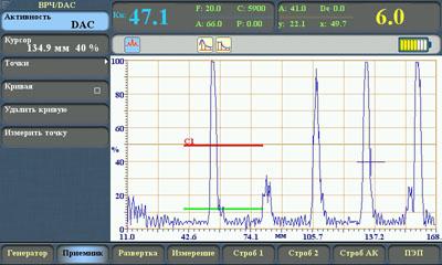Отображение на экране портативного ультразвукового дефектоскопа Sonocon B найденных дефектов